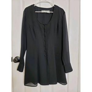Liz Claiborne Black Knee Length Button Down Dress